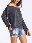 Deep Grey Tie At Cuffs Off Shoulder Long Sleeves Blouse