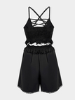 Sexy Tassel Design Zipper Details Hollow Out Lace-up Cami Co-ord Set