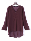 Burgundy V-neck Long Sleeves Chiffon Shirt