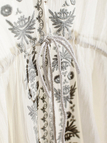 White Folk Embroidery Dress with Flare Sleeves