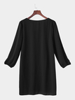 Black V-neck Long Sleeves Mini Length Dress