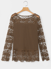 Coffee Floral Lace Pattern Stitching Chiffon Shirt