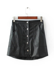 Artificial Leather Front Botton A-line Skirt