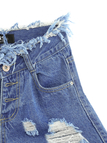 Middle Waist Ripped Denim Shorts