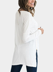 White Round Neck Long Sleeves Slit Hem Top