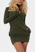 Navy Green Roll Neck Casual Dress with Two Side Pockets