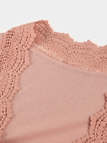 Pink Lace Trim 3/4 Length Sleeves Cardigan