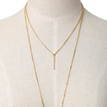 Gold Plated Bar Pendant Layered Design Long Necklace