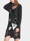 Black Ripped Sweater with Letter pattern