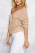 Beige Sexy Off-shoulder Wrapped Sweater