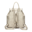 Textured Leather-look Backpack in Beige with Drawstring