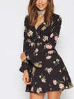 Black V-neck Random Floral Print Long Sleeves Mini Dress