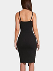 Black Plunging Deep V Neck Sleeveless Splited Bodycon Dress