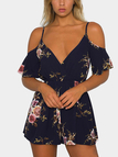 Cold Shoulder Random Floral Print Playsuit In Navy