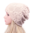 Beige Crochet Knit Ribbed Beanie Hat