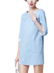 Blue 3/4 Sleeve Shift Dress with Patch Pockets