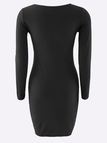 Black Bodycon V-neck Single Breasted Casual Dress