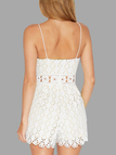 White Sexy V-neck Lace Details Playsuit