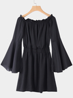 Black Off Shoulder Flared Sleeves Ruffle Hem Mini Dresses