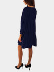 Navy Round Neck Long Sleeves Mini Dress
