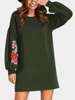 Army Green Embroidered Crew Neck Lantern Sleeves Dress