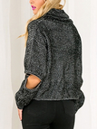 High Neck Jumper with Zipper Sleeves