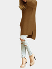 Khaki Splited Design Round Neck Irregular Sweater