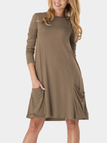 Coffee Solid Color Two Large Pockets Loose Dresses