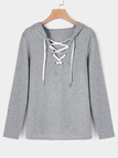 Grey Deep V-neck Lace-up Design Long Sleeves Hooded Sweatshirt