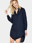 Navy Blue Fashion V-neck Irregular Dress