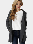 Dark Gray Knit Lapel Collar Loose Trench Coat