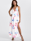 Sexy V-neck Random Floral Print Open Back Slit Dress