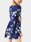 V-neck Star Pattern Mini Dress with Long Sleeves