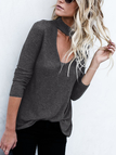 Grey Button Keyhole Design Long Sleeves Sweaters