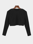 Black Bodycon Crew Neck Long Sleeves Crop Top