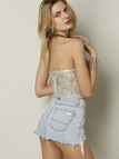 Hot Sale Embroidery Pattern Hollow Lace Halter Camis
