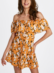 Off-the-shoulder Random Floral Print Mini Dress in Yellow
