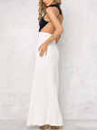 High Neck Top Button Closure Thin Straps Design Elasticated Wait Cut Away Side Details Maxi Dress