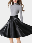 Black Artificial Leather Full Midi Skirt