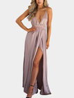 Sexy V-neck Backless Splited Hem Maxi Dress