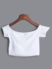 White Off-the-shoulder V Metal Front Short Sleeves Crop Top