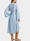 Light Blue Folk Embroidery Dress with Flare Sleeves
