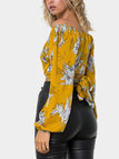 Yellow Floral Print Crossed Front Design Off Shoulder Long Sleeves Shirt