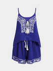 Blue Ties With Tassel Cami & Stretch Waistband Short Sexy Co-ords