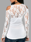 White Lace Details Printed Round Neck Long Sleeves T-shirts