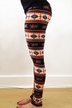Brown Holiday Leggings in Printing