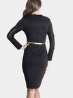 Black Round Neck Bodycon Dress with Mesh Design
