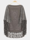 Grey Vintage Pattern Bohemia Cape With Tassel Trims
