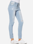 Blue Ripped Details Middle Waist Jeans
