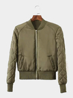 Quilted Bomber Jacket in Olive Green